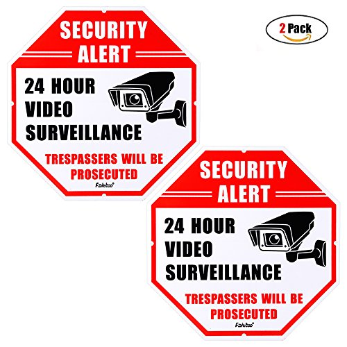 Faittoo 2-Pack Video Surveillance Sign, No Trespassing Metal