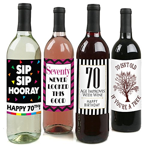 Chic 70th Birthday Wine Label Pack Party Supplies Ideas