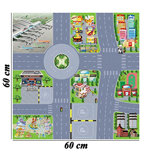 City Street Roads Kids Fun Car Play Rug 100x150cm Non: BCP 1 Pcs Airport Traffic Sign Street City Road Map For