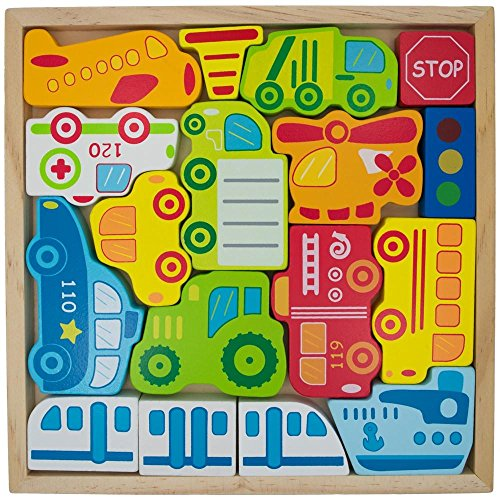 Cars Ship Plane Helicopter And Sign Learning Wooden Block Puzzle - Cars sign and names