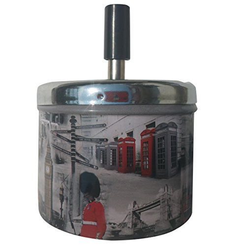 Coralpearl Smokeless Metal Tin Push Down Ashtray For